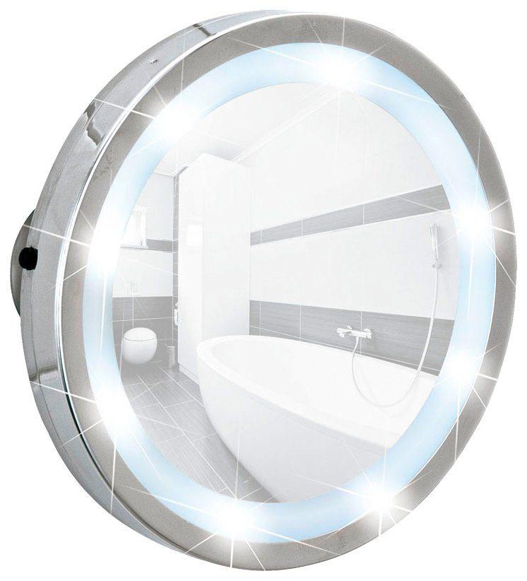 WENKO Kosmetikspiegel »Mosso«, LED Leuchtspiegel, mit 3 Saugnäpfen, 3-fach Vergrößerung