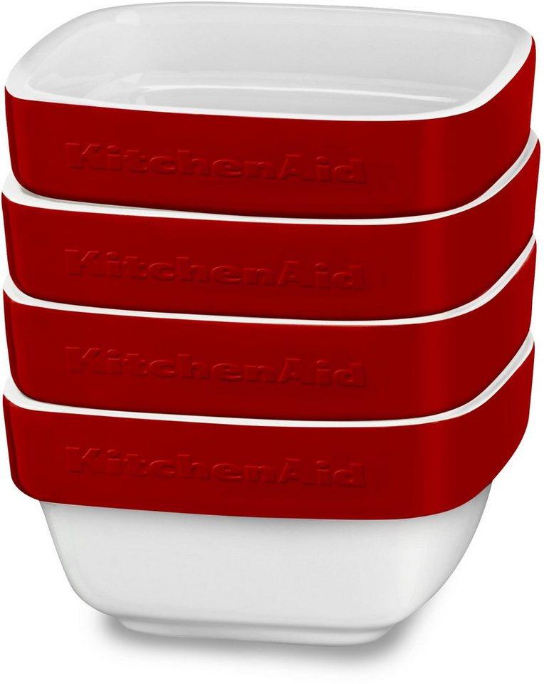 KitchenAid Keramikformen -Set, 4-teilig, »KBLR04RMER« in weiß/rot