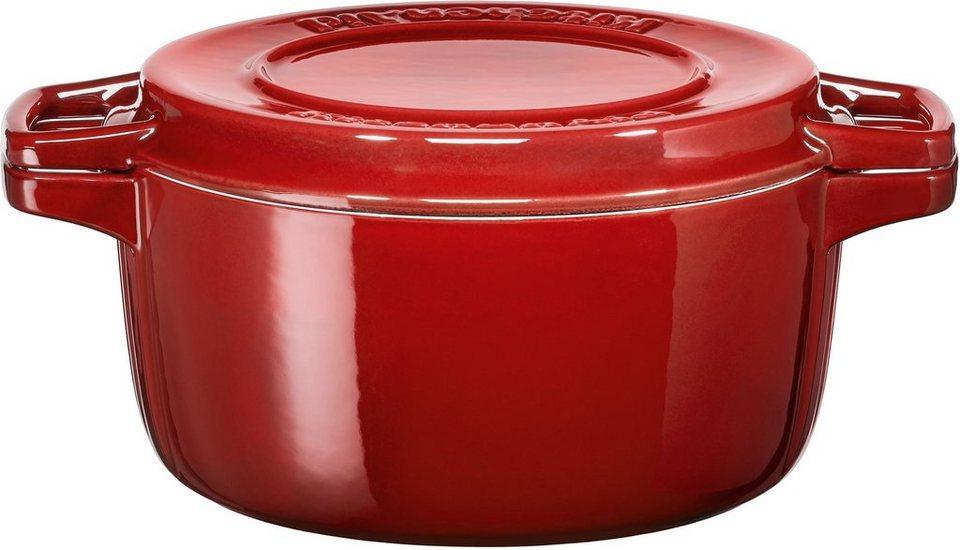 KitchenAid Bräter, rund, Induktion in rot/schwarz