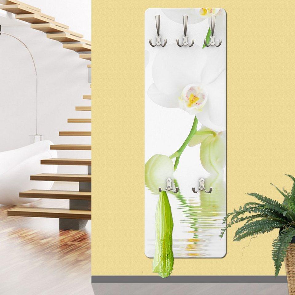 Bilderwelten Wandgarderobe 139x46x2cm »Wellness Orchidee« in Weiß