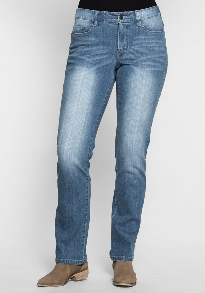 sheego Denim Gerade Stretchjeans Lana mit Stickerei in blue Denim