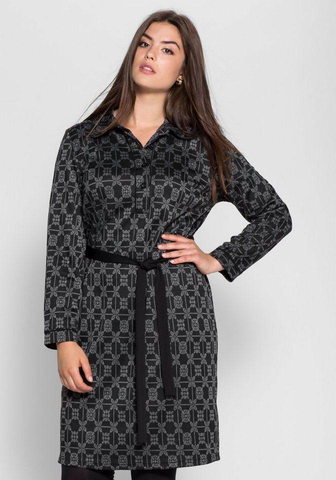 sheego Trend Jacquardkleid mit Bubikragen in schwarz-grau