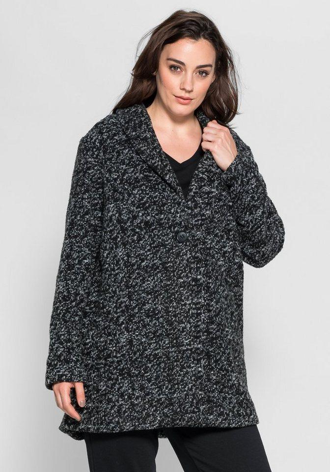 sheego Style Jacke in Bouclé-Optik in schwarz-offwhite