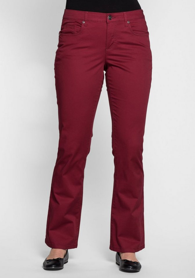 sheego Casual BASIC Bootcut-Stretch-Hose aus Baumwolle in bordeaux