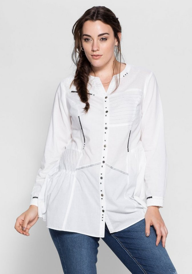 Joe Browns Longbluse mit Stickerei in weiß