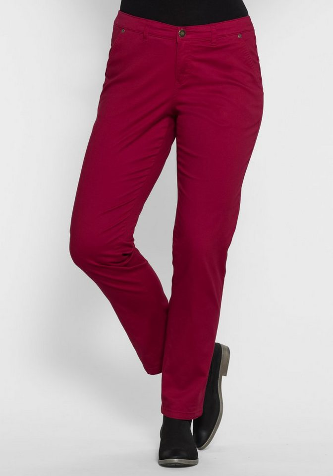 sheego Casual Chino Stretch-Hose in weinrot