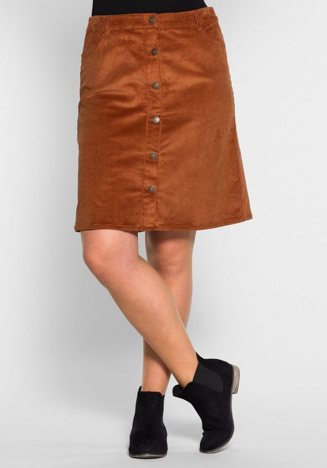 sheego Casual Cordrock mit Knopfleiste in cognac