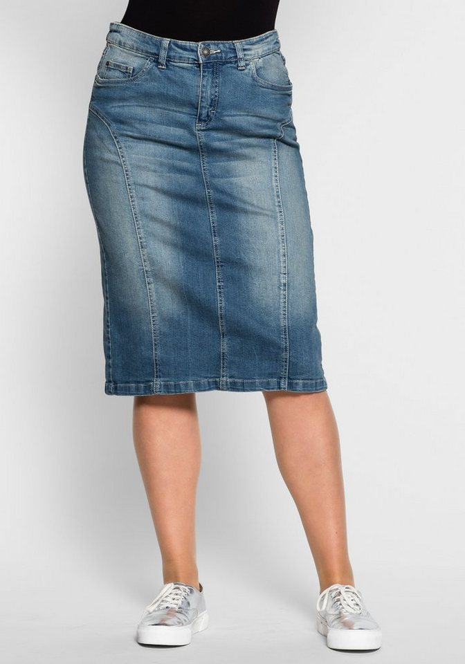 sheego Denim Jeansrock mit Teilungsnähten in blue Denim