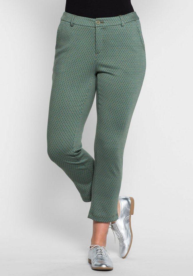 sheego Trend Schmale 7/8-Jerseyhose in lorbeer bedruckt