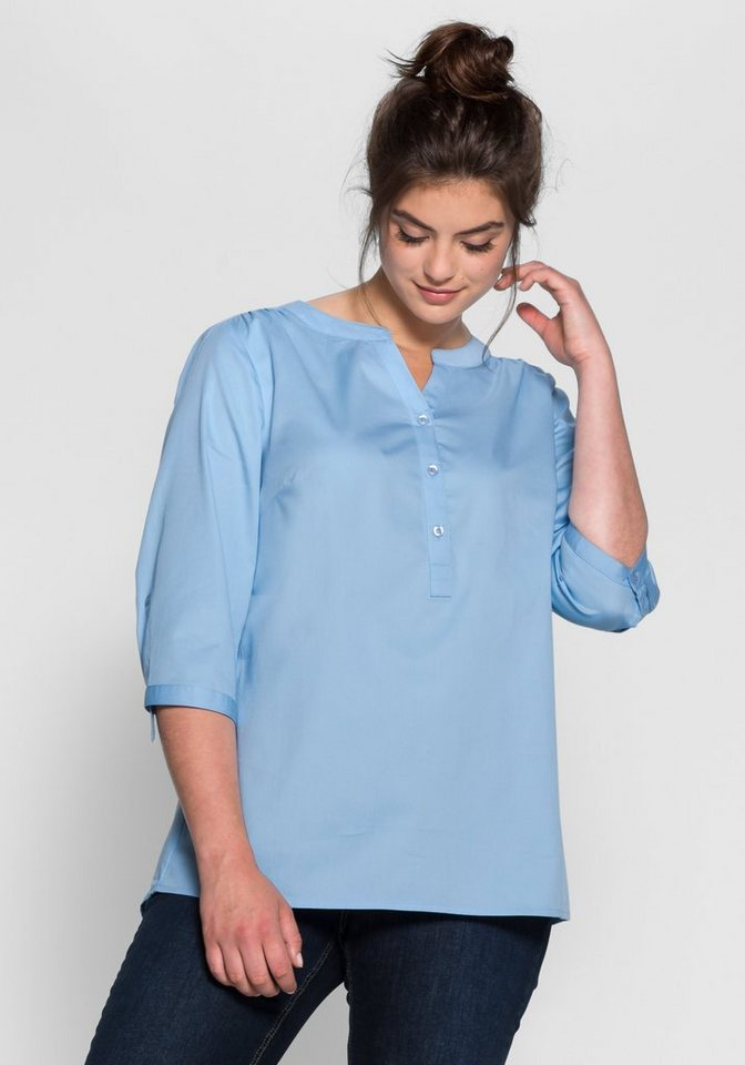 sheego Casual Tunika mit 3/4-Ärmeln in pastellblau