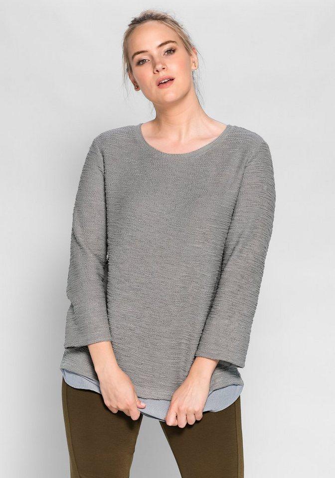 sheego Casual Sweatshirt in 2-in-1-Optik in steingrau