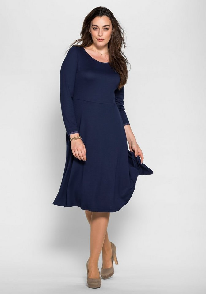 sheego Style Jerseykleid in leichter A-Form in marine