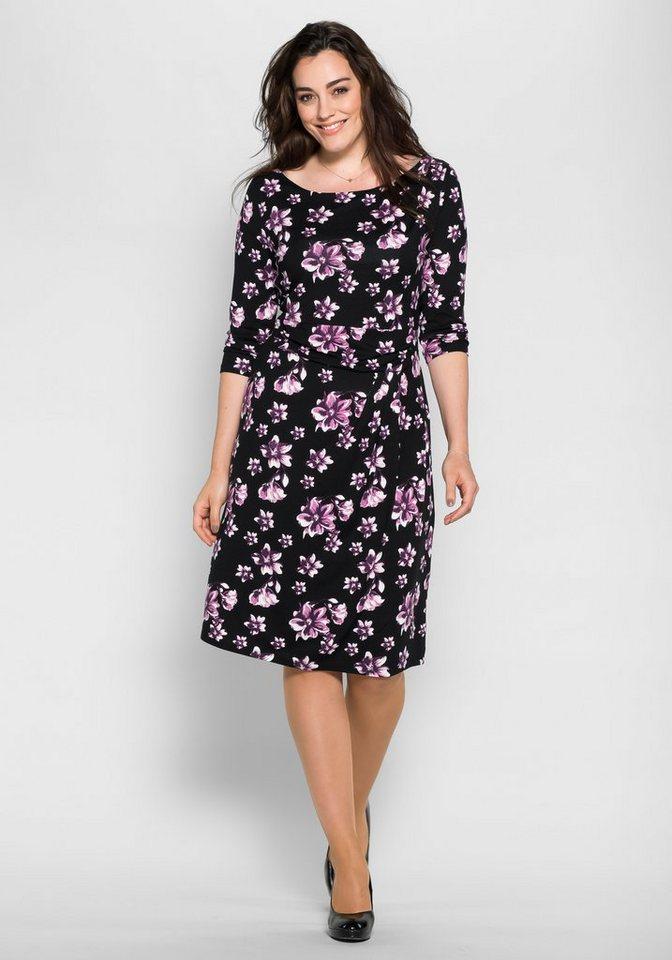 sheego Style Jerseykleid in schwarz-aubergine