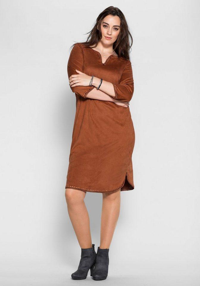 sheego Style Kleid in Veloursleder-Optik in zimt