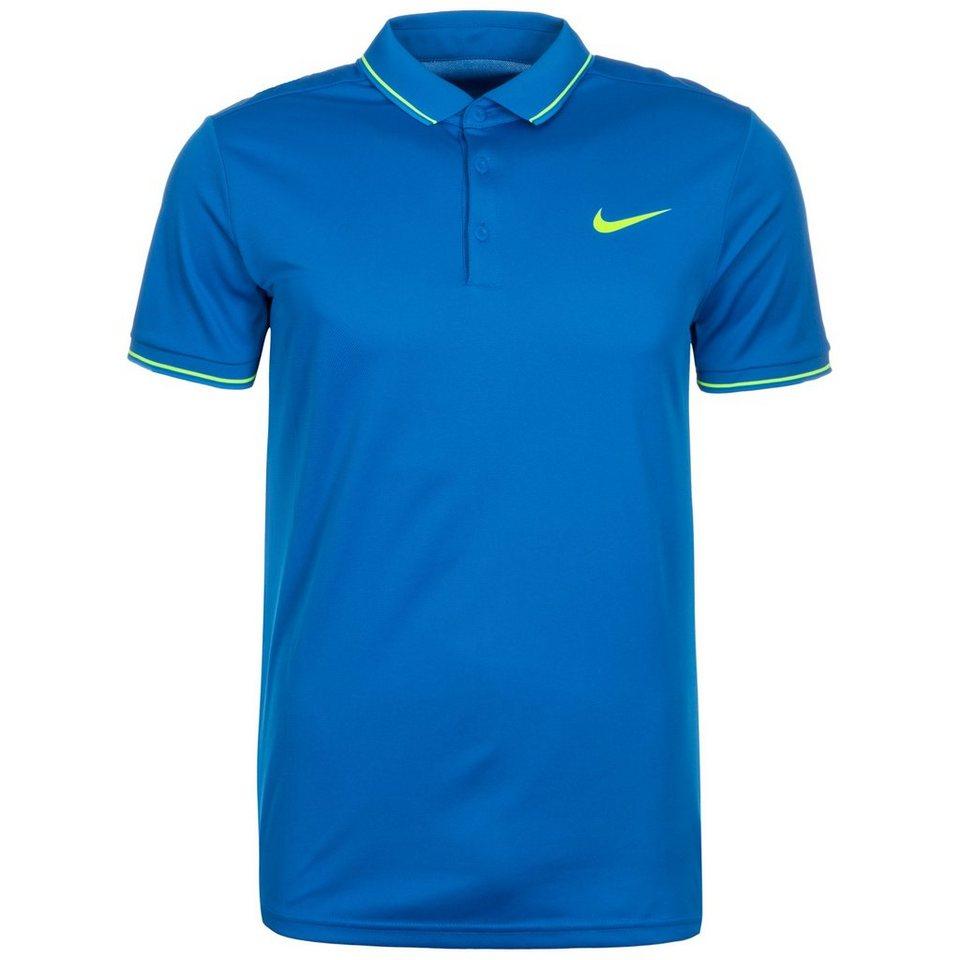 NIKE Team Court Tennispolo Herren in blau / neongelb