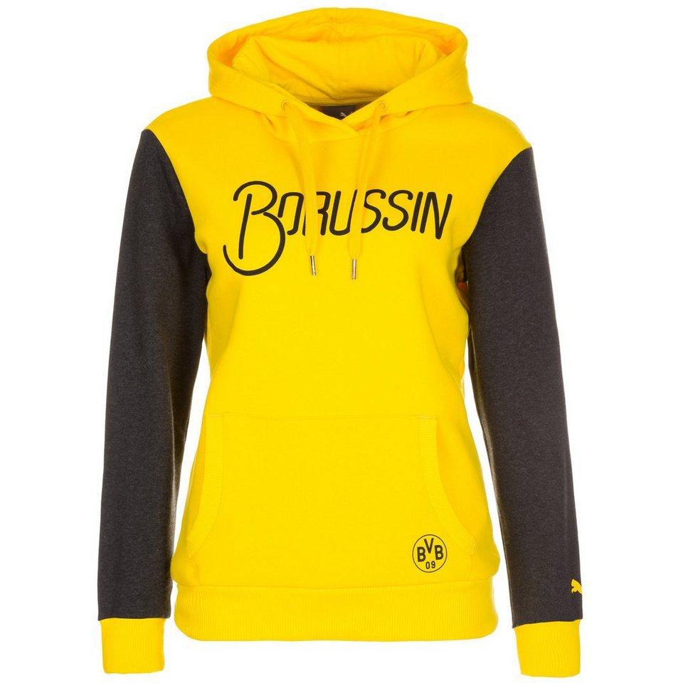 PUMA Borussia Dortmund Fan Kapuzenpullover Damen in gelb / anthrazit