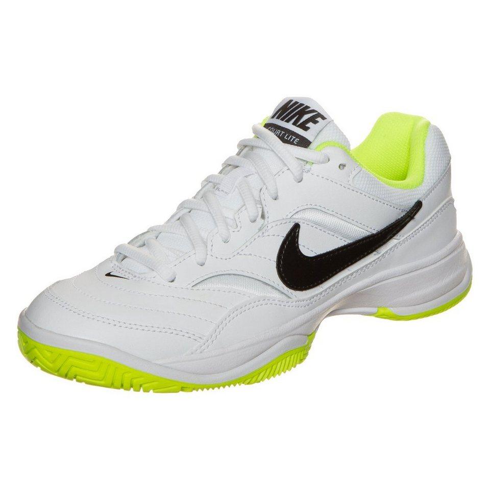 NIKE Court Lite Tennisschuh Damen in weiß / neongelb