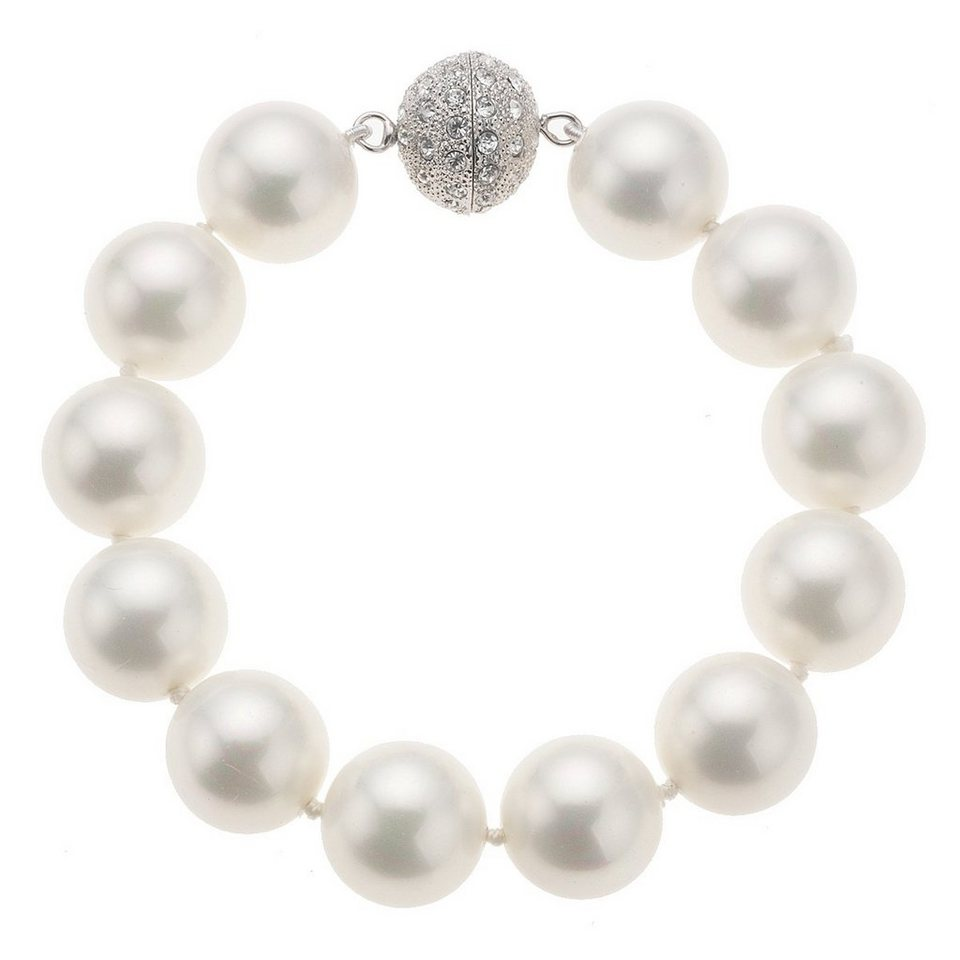 Zeeme Armband »Perlarmband Muschelkernperle weiß 20cm« in Weiß
