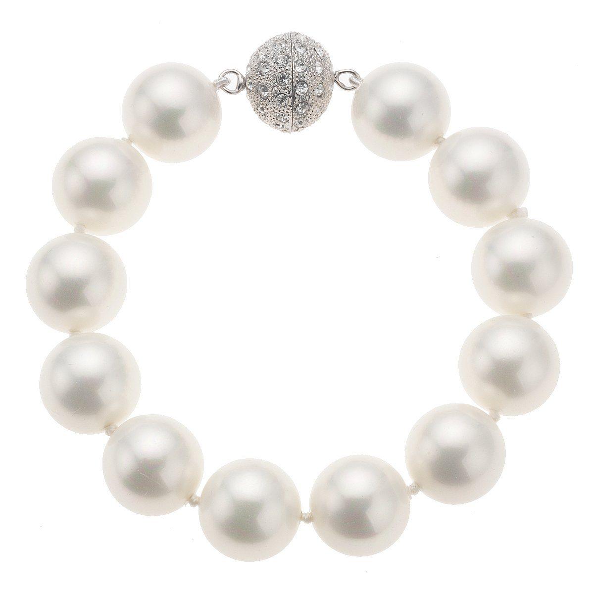 Zeeme Armband »Perlarmband Muschelkernperle weiß 20cm«