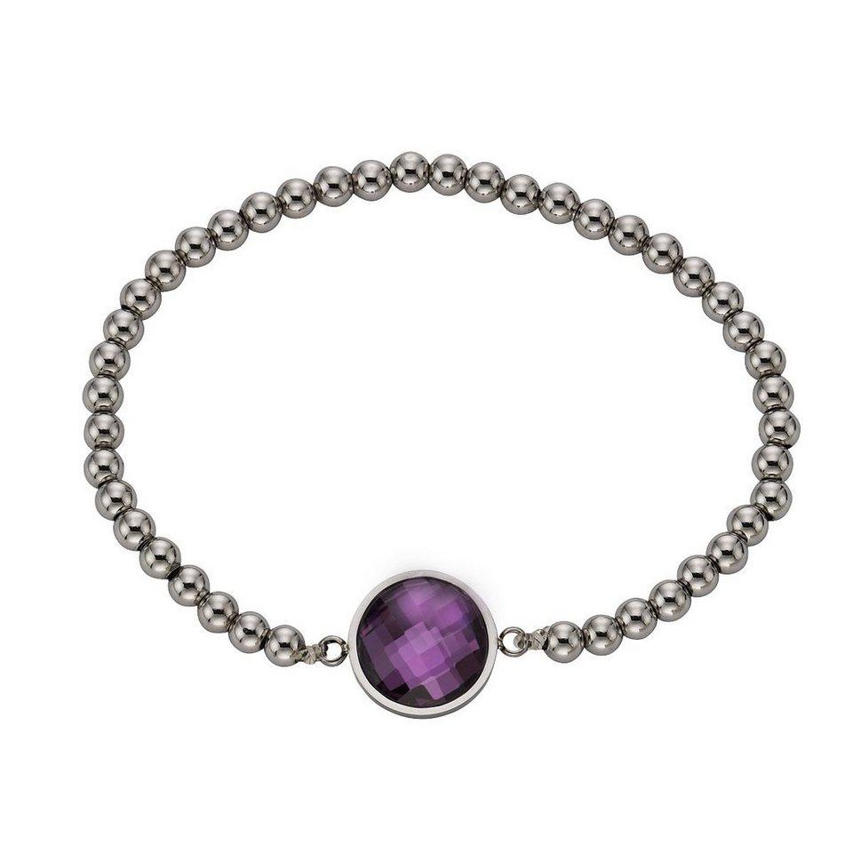 Zeeme Armband »Edelstahl Stretcharmband Glas lila« in lila