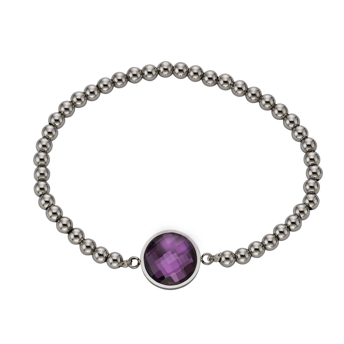 Zeeme Armband »Edelstahl Stretcharmband Glas lila«