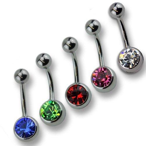 Zeeme Piercing »5-teiliges Set 316l CHS Stahl Kristall« in ohne