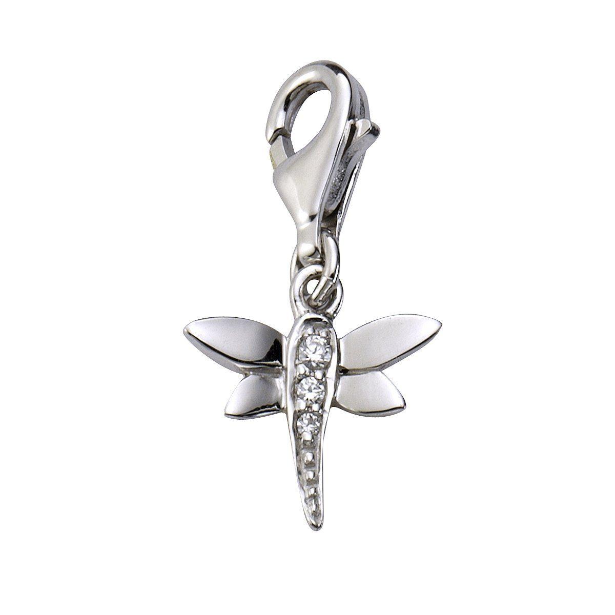 Zeeme Charm »925/- Sterling Silber Zirkonia weiß Libelle«