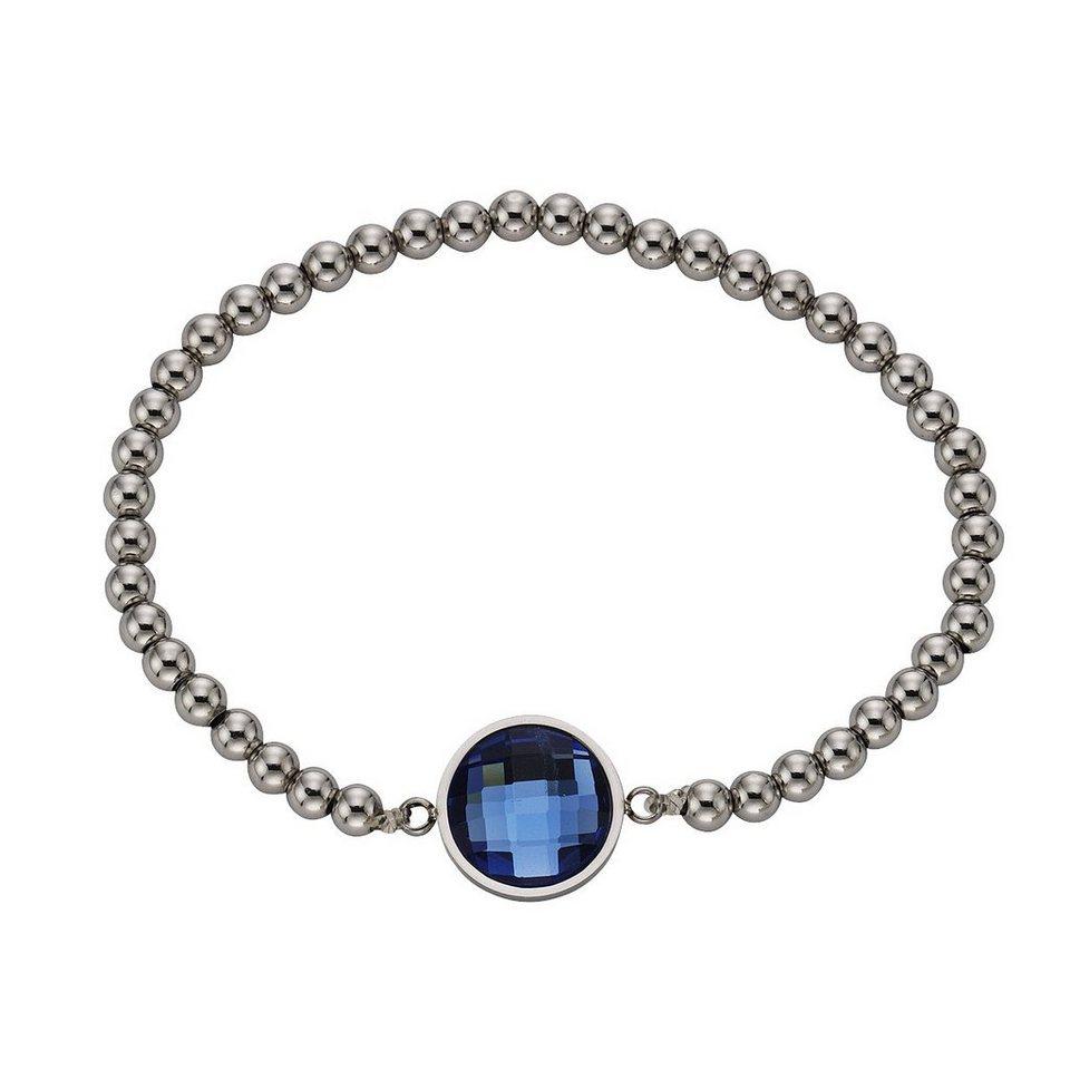Zeeme Armband »Edelstahl Stretcharmband Glas blau« in blau
