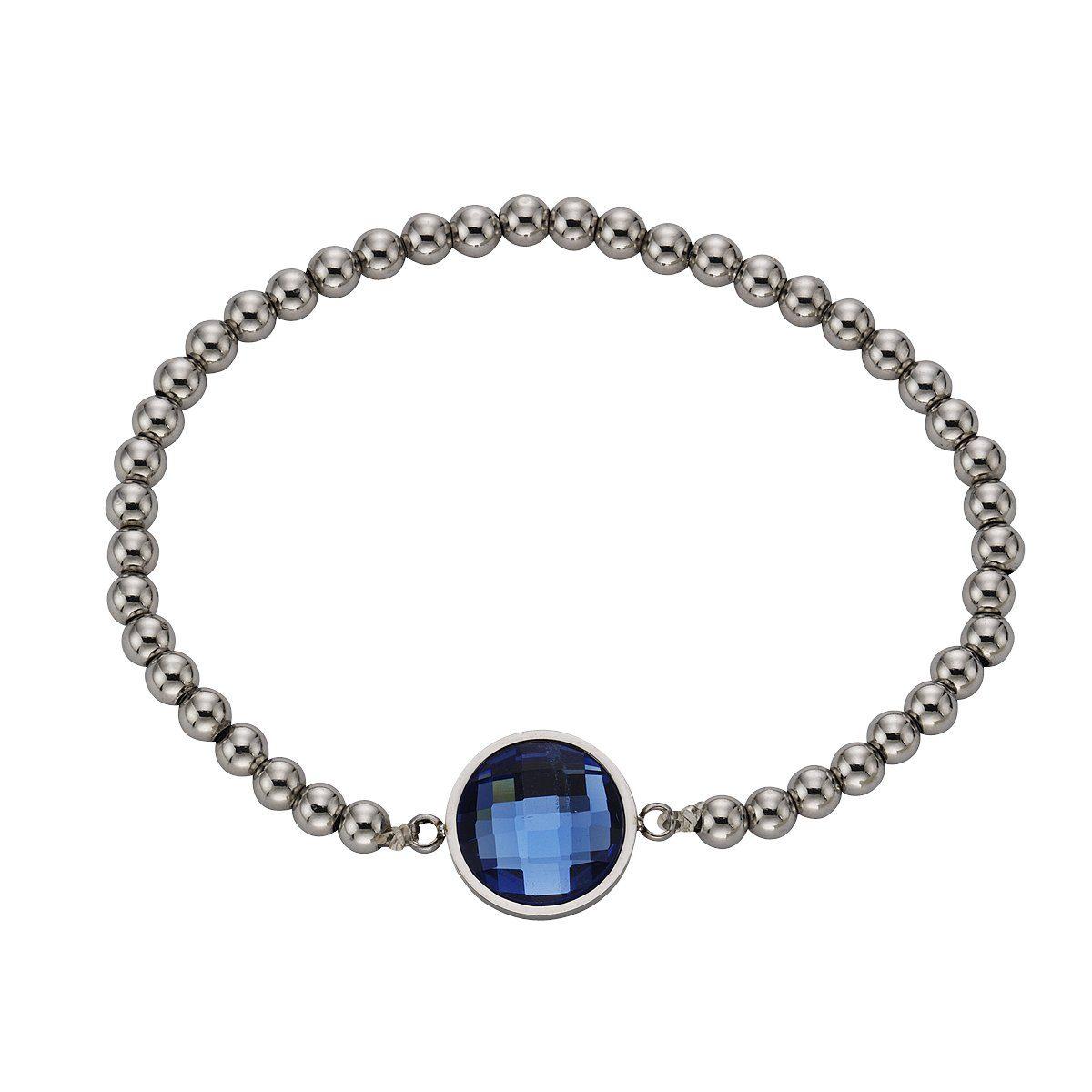 Zeeme Armband »Edelstahl Stretcharmband Glas blau«