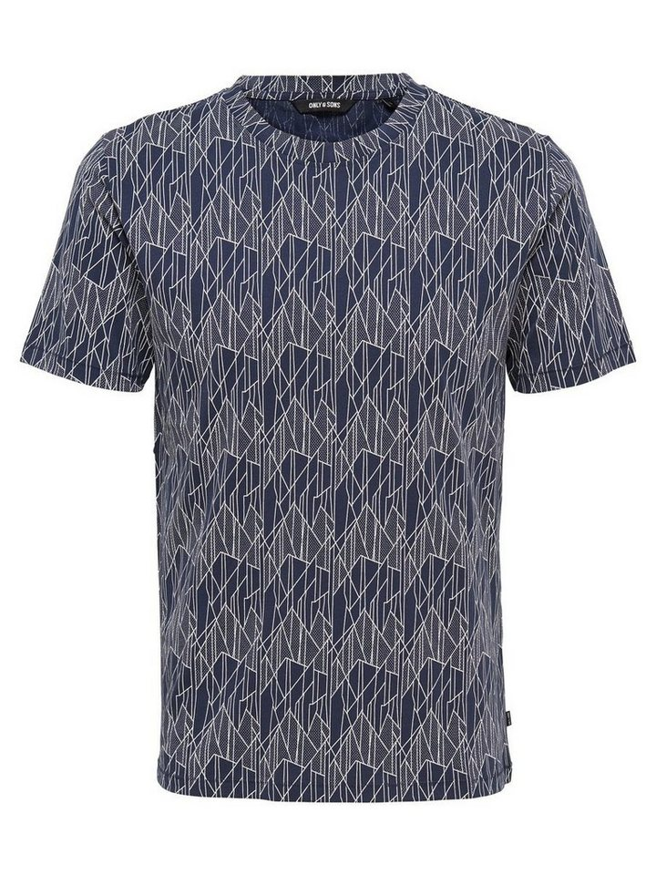 ONLY & SONS Bedrucktes T-Shirt in Dress Blues