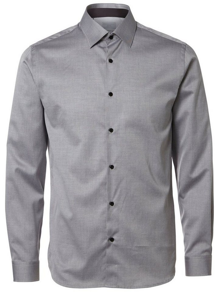 Selected Regular-Fit- Langarmhemd in Light Grey Melange