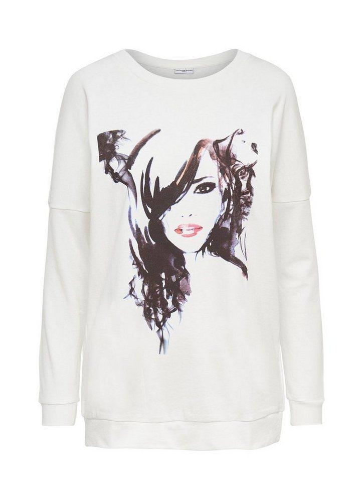 Only Bedrucktes Sweatshirt in Cloud Dancer