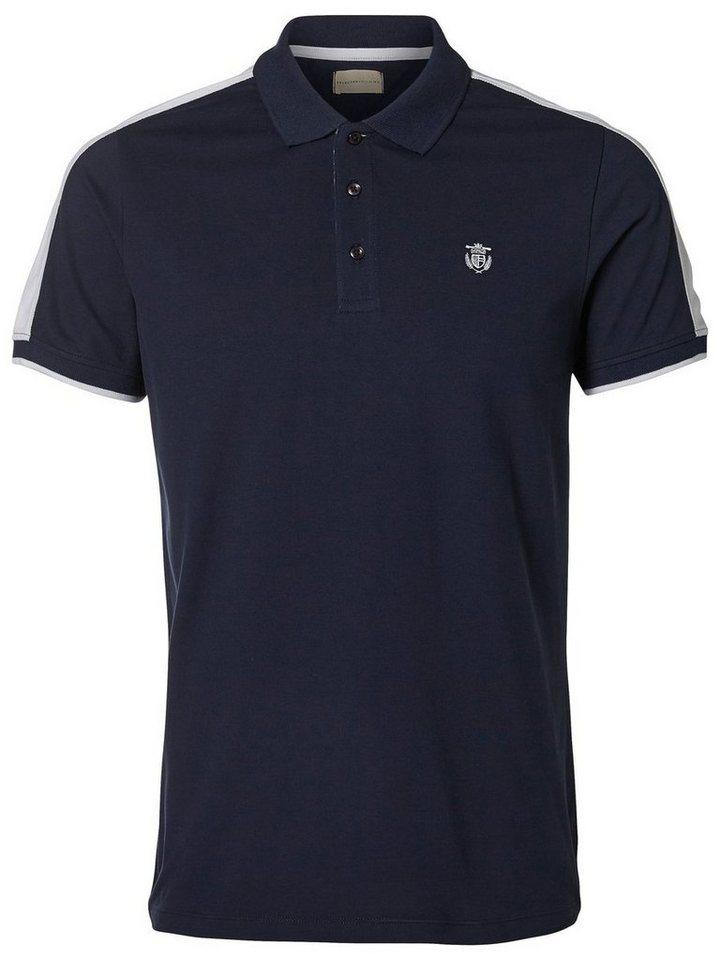 Selected Kontrastreich gefärbtes Poloshirt in Navy Blazer