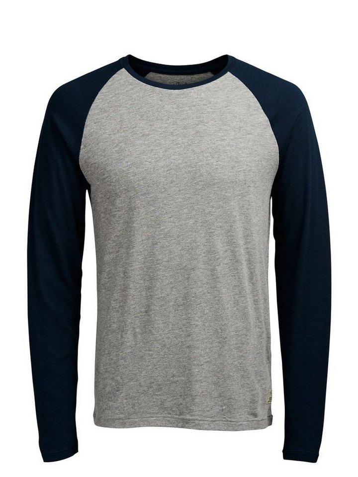 Jack & Jones Raglan- T-Shirt mit langen Ärmeln in Light Grey Melange