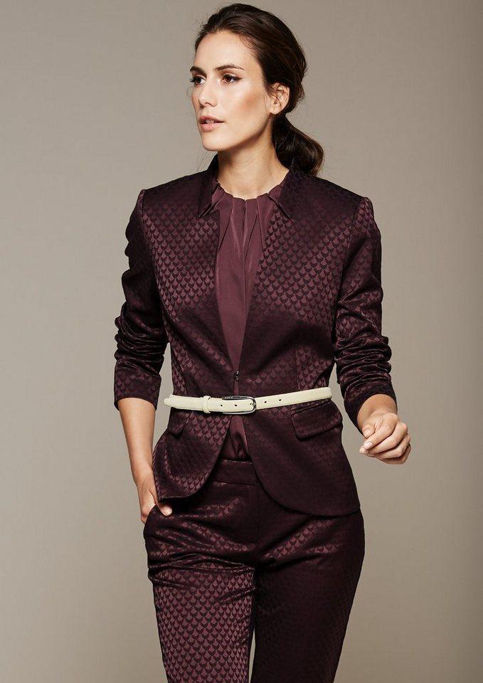 COMMA Extravaganter Blazer mit glamourösem Jacquardmuster in plum AOP