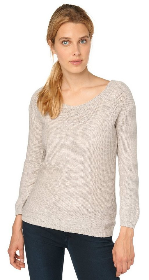 TOM TAILOR Pullover »Strick-Pullover mit Struktur« in light dove grey