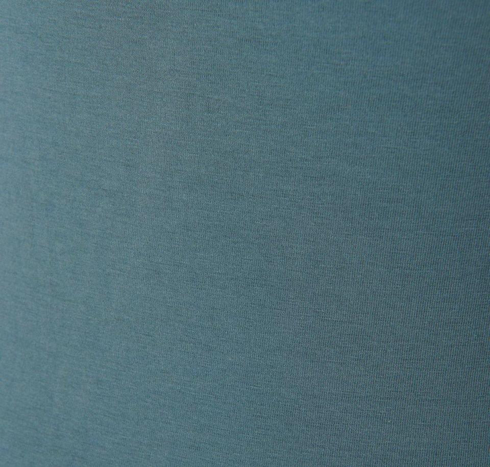 TOM TAILOR T-Shirt »Top mit breitem Spitzensaum« in canvas petrol