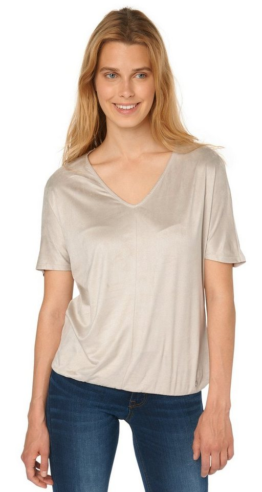 TOM TAILOR T-Shirt »trendy velours-look shirt« in light dove grey