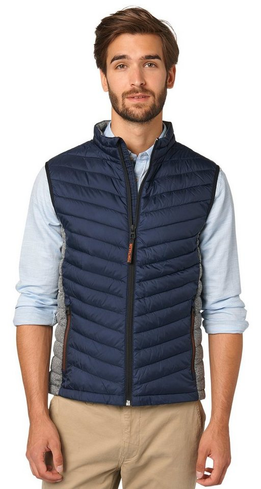 TOM TAILOR Weste »gesteppte Materialmix-Weste« in knitted navy