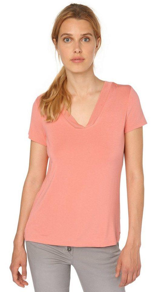 TOM TAILOR T-Shirt »T-Shirt mit dekorativen Ausschnitt« in Peach Blush