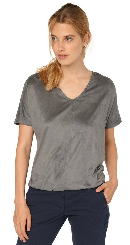 TOM TAILOR T-Shirt »angesagtes Material-Mix T-Shirt« in smoked pearl grey