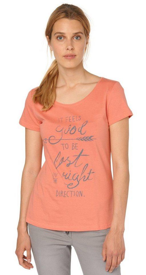 TOM TAILOR T-Shirt »schönes T-Shirt mit Glitzer-Print« in Peach Blush