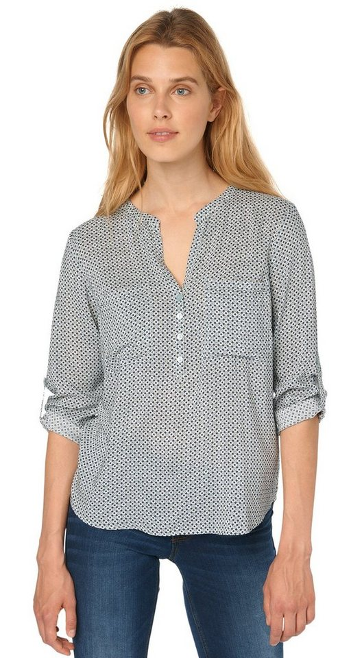 TOM TAILOR Bluse »beautiful print blouse« in Light Mineral Blue