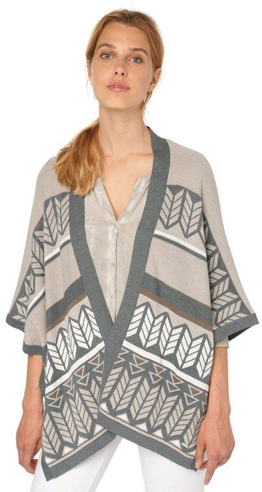 TOM TAILOR Strickjacke »Kimono mit Jacquard-Muster« in greige
