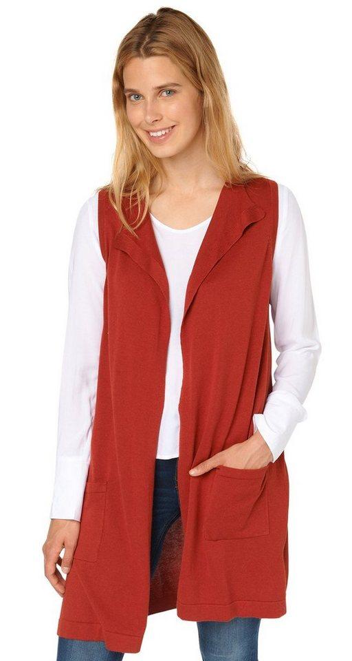 TOM TAILOR Strickjacke »basic long vest« in velvet red