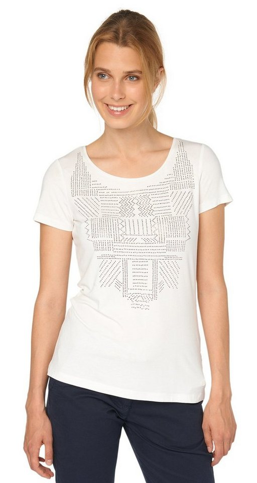 TOM TAILOR T-Shirt »T-Shirt mit Glitzerstein-Muster« in whisper white