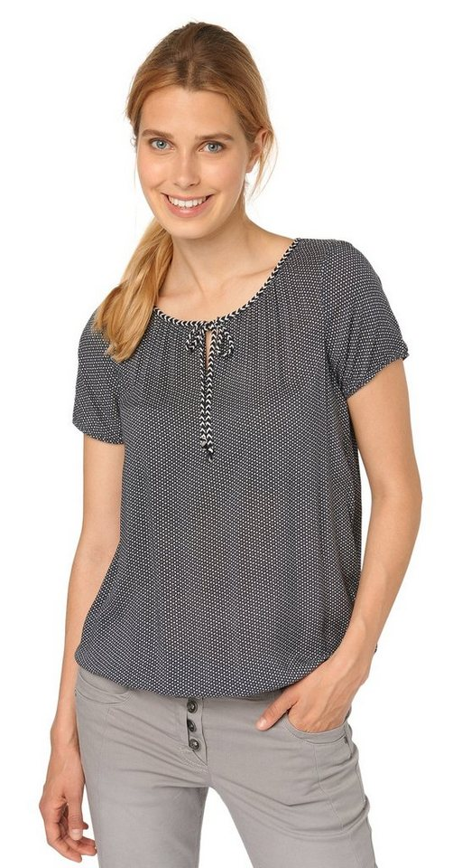 TOM TAILOR Bluse »easy print blouse« in Coal Grey
