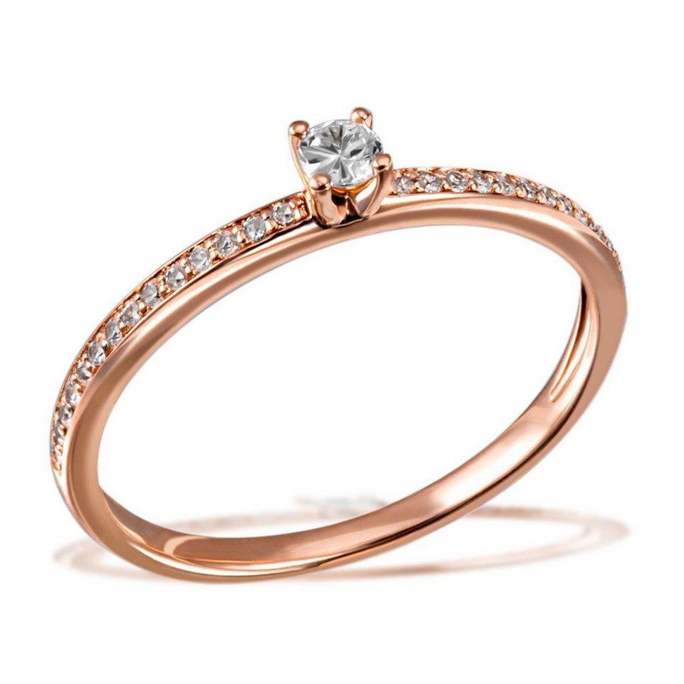 goldmaid Damenring Verlobungsring Fabienne 585/- Rotgold 29 Brillanten 0, in rosegoldfarben