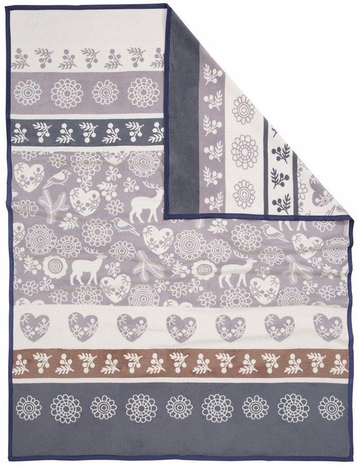 Decke, Casatex, »Jonas«, mit Bordüren bedruckt in grau