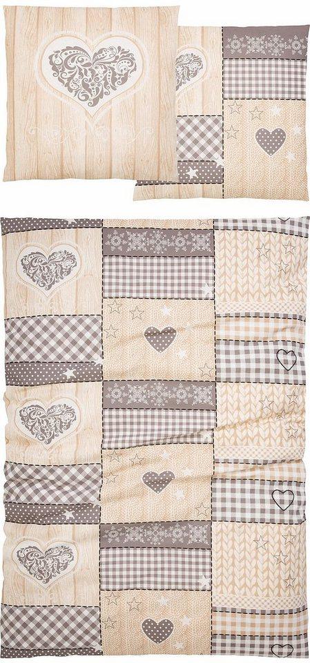 Bettwäsche, Home affaire Collection, »Janina«, im Patchwork-Design in beige-braun